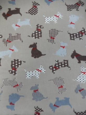 Polar Fleece Anti Pill Washable Soft Fabric- Scottie Dogs PF230 MLT