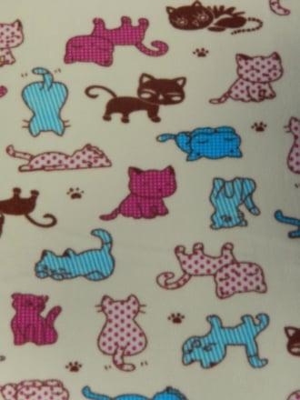 Polar Fleece Anti Pill Washable Soft Fabric- Kitty Cats PF231 MLT