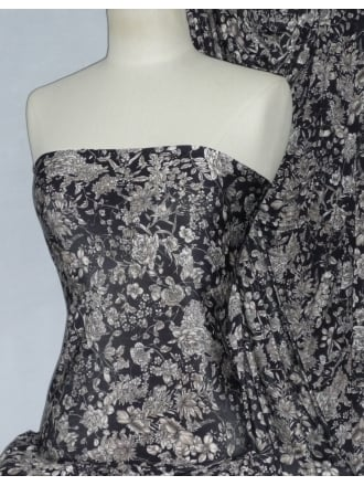 Silk Touch 4 Way Stretch Fabric- Mocha/Black Vintage Floral SLKT232 BKMCH