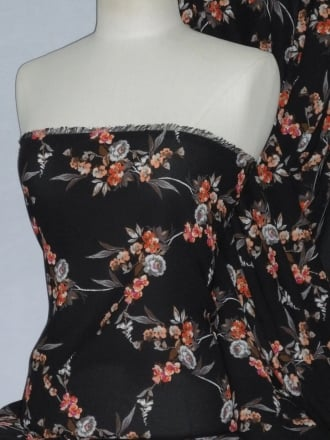 Soft Touch Sheer Fabric - Georgette Tea Floral PCH234 RDBK