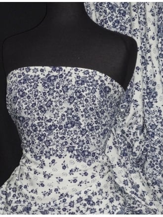 100% Viscose Light Weight Sheer Woven Material- Navy/White Floral VSC237 NYWH