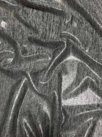 Foil Coated Marl Effect Stretch Jersey Fabric- Grey Marl Q1391 MGR