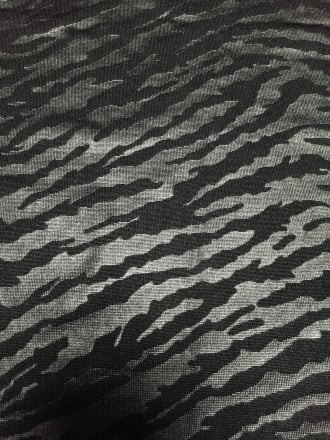 Micro Lycra Leather Look Stretch Fabric- Black Tiger Stripe Q1392 BK
