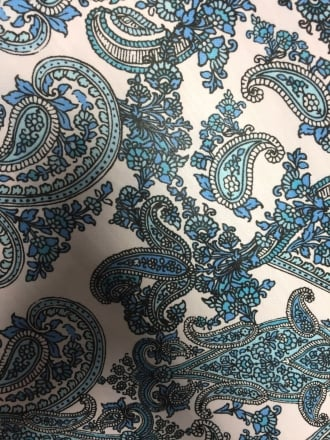 Chiffon Soft Touch Sheer Fabric - Blue Paisley Design CHF237 IVBL