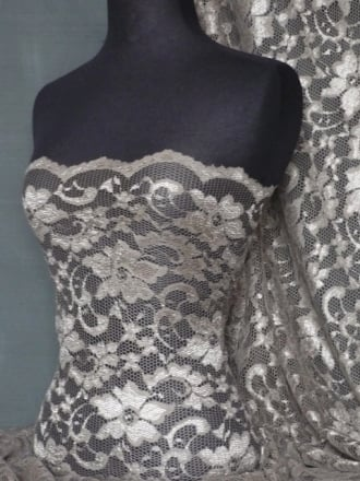 Lace Scalloped Floral Stretch Lycra Fabric- Mocha Brown Q615 MCH