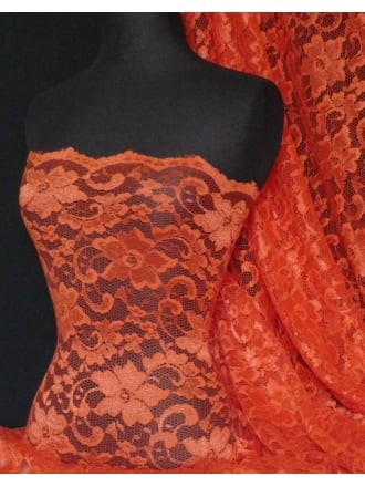Lace Scalloped Floral Stretch Lycra Fabric- Bongo Jazz Red Q615 BGJAZ