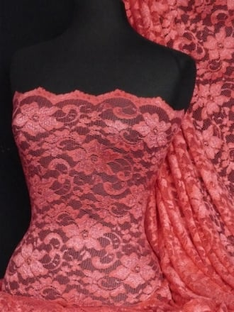 Lace Scalloped Floral Stretch Lycra Fabric- Coral Q615 CRL