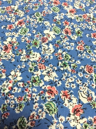 100% Viscose Light Weight Woven Material- Retro Roses Cornflower Blue VSC240 CBLPN