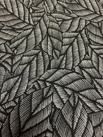 100% Viscose Light Weight Woven Material- Black/Ivory Leaves VSC241 BKIV