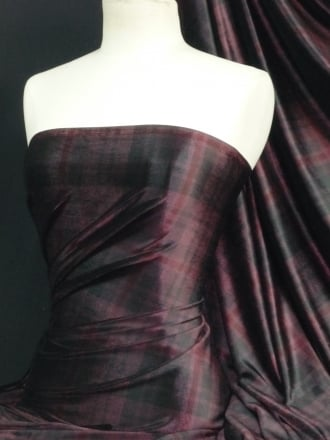Velvet Spandex Fabric- Plum/Black Tartan Q979 PLMBK