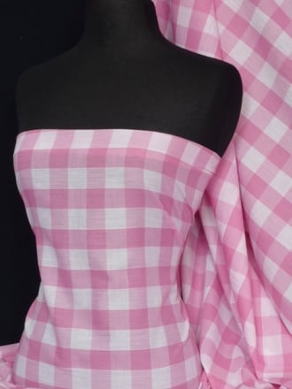 Poly Cotton Material- Pink Gingham Q561 PN