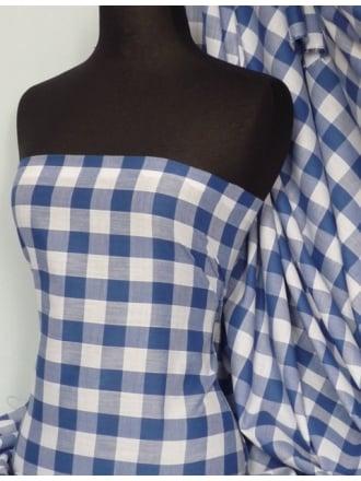 Poly Cotton Material- Royal Blue Gingham Q561 RBL