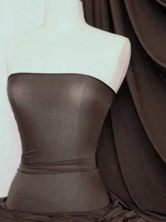 Diabolo Shiny Lycra 4 Way Stretch Fabric- Rich Chocolate Q262 RCH