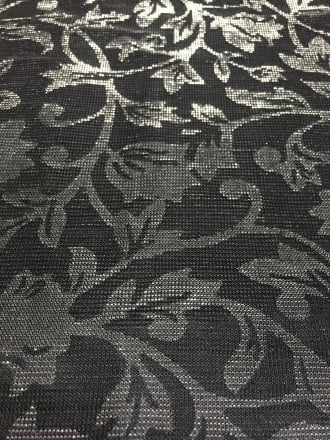 100% Nylon Floral Shimmer Mesh Fabric- Moonlight Black SQ127 BKSLV