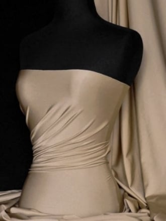 Clearance (108 cms Width) Satin Shiny Lycra Medium-Heavy Weight Stretch Material- Butterscotch SQ117 BTSC