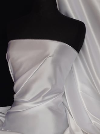 Clearance Satin Shiny Lycra Stretch Lightweight Material- White SQ68 WHTS