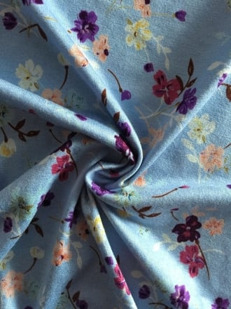 Viscose Cotton Stretch Lycra Fabric- Bluebell Spring Flowers VSC253 BUBL