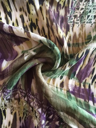Crinkle Chiffon Soft Touch Sheer Fabric- Jungle Green/Purple CHF242 GRPPL