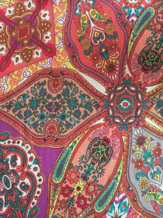 100% Viscose Woven Non-Stretch Material- Paradise Paisley Coral VSC245 CRL