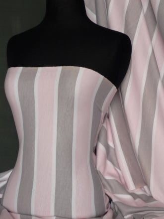 100% Cotton Interlock Knit Soft Jersey T-Shirt Fabric - Pink/Grey Stripe Q187 PNGR