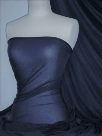 Paris Mesh Non-Lycra 4 Way Stretch Light Jersey Fabric- Oxford Blue Q450 OXBL