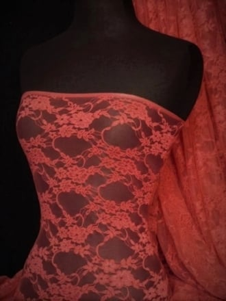 Flower Stretch Lace Fabric- Dark Coral Q137 DKCRL