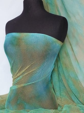 Tie-Dye Fishnet 4 Way Stretch Material- Mermaid Q713 GRNBL
