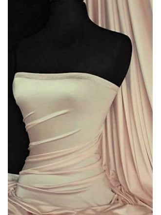 Clearance (207 cms Width) Satin Shiny Lycra Stretch Material- Nude SQ123 ND