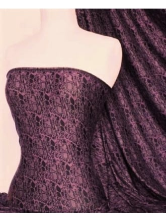 Viscose Cotton 4 Way Stretch Fabric- Purple Crocodile SQ144 PPLBK