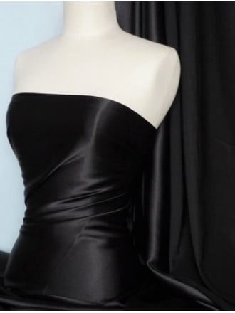 Clearance Satin Shiny Lycra Stretch Lightweight Material- Black SQ68 BKS