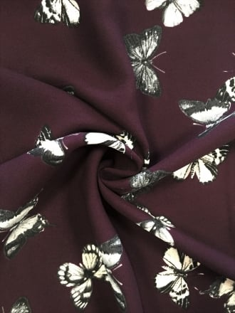 Georgette Chiffon Soft Touch Sheer Fabric - Butterfly Family Aubergine CHF248 AUBBK