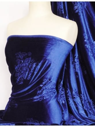 Velvet Spandex Fabric- Royal Blue Embossed Q978 RBL