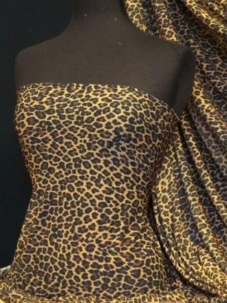Helenka Mesh Stretch Sheer Material- Leopard Camel/Black Q1130 CMLBK
