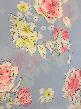 Georgette Chiffon Soft Touch Sheer Fabric - Powder Blue/ Pretty Pink Roses CHF253 PBLPN