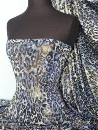 Silk Touch 4 Way Stretch Fabric- Blue/Gold Leopard Foil Q619 BLGLD