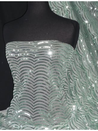 Showtime Fabric All Over Stitched 3mm Sequins - Fish Scales Mint SEQ66 MNT