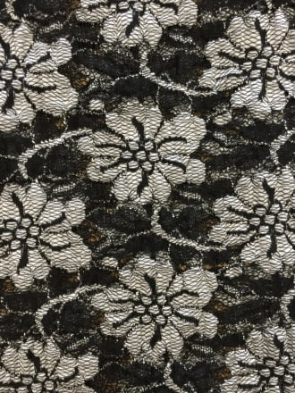 Lace Scalloped Lycra 4 Way Stretch Fabric- Black/White Flower SQ167 BKWH