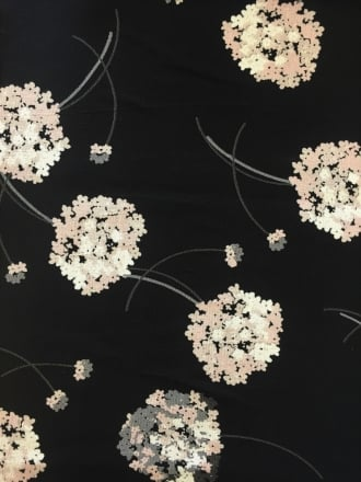 Viscose Crepe Blouse Fabric- Dandelion Black/Ivory SQ168 BKIV