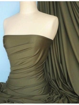 Heavy Viscose Cotton Stretch Lycra Fabric- Khaki Q896 KH