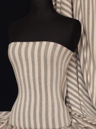 Viscose Cotton Stretch Fabric- Nude/Grey Stripe Q1152 NDGR