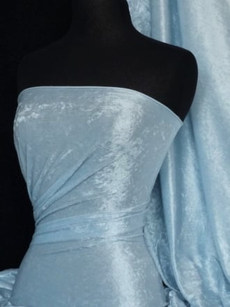Crushed Velvet/Velour Stretch Material- Ice Blue Q156 ICEBL