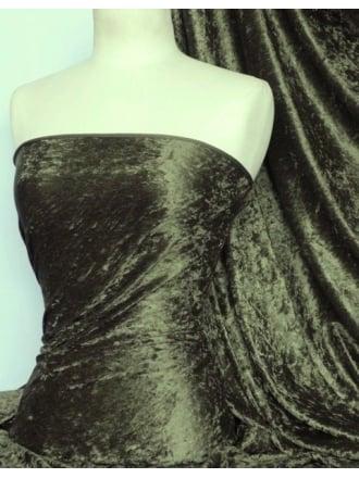 Crushed Velvet/Velour Stretch Material- Khaki Q156 KH