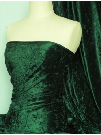 Crushed Velvet/Velour Stretch Material- Bottle Green Q156 BTGR