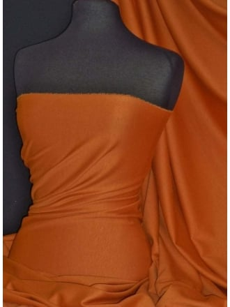 Ponte Double Knit Stretch Jersey Fabric- Burnt Orange Q37 BTOR