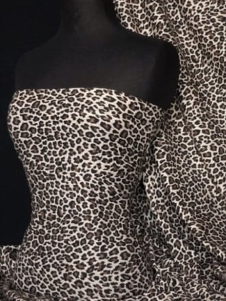 Viscose Cotton Stretch Fabric- Marl Grey/Black Leopard Q700 MGRBK