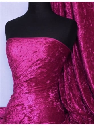 Crushed Velvet/Velour Stretch Material- Fuchsia Q156 FCH