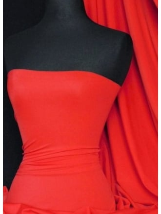 Clearance Matt Lycra 4 Way Stretch Lightweight Fabric- Tomato Red SQ66 TRD