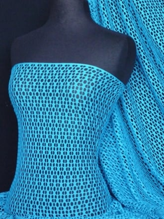 Fish Net 4 Way Stretch Circle Knit Material- Kingfisher Blue Q899 KGFSH