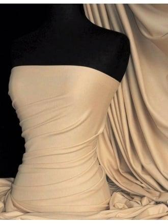 Soft Fine Rib 100% Cotton Knit Material - Light Stone Q61A LTSTN
