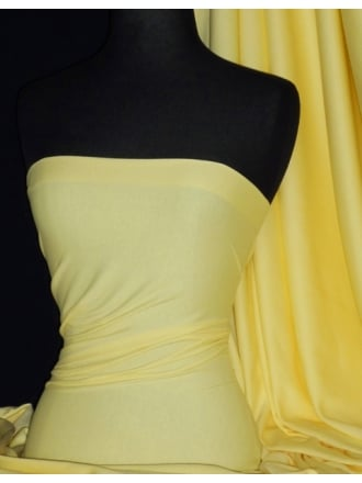 Soft Fine Rib 100% Cotton Knit Material - Pastel Lemon Q61 PLMN